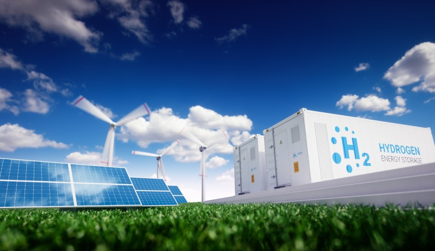 Hydrogen energy storage with renewable energy sources - photovoltaic and wind turbine power plant farm.