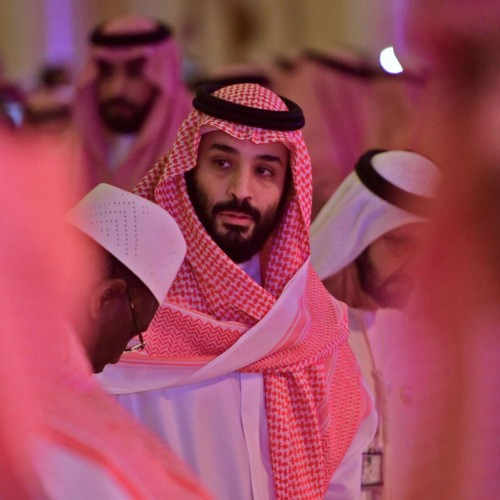 Saudi Crown Prince Mohammed bin Salman arrives at the Future Investment Initiative conference in Riyadh on Oct. 24, 2018.