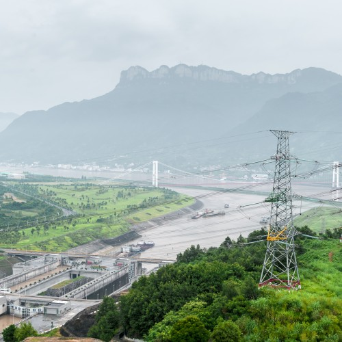 View of the Three Gorges Dam on the Yangtze River in China in misty ambiance
